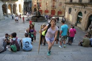 Glenda arriving in front of Santiago de Compostela Cathedral