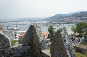 View from castle wall overlooking charming Biaona Harbour