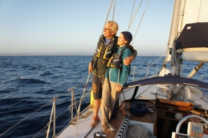 Glenda & Richard sailing towards Vilamoura